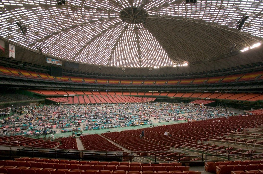 Astrodome as Emergency Shelter in Hurricane