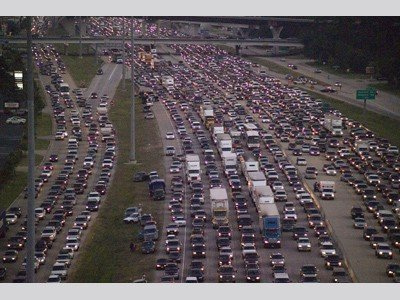 Hurricane Gridlocked Houston Freeway